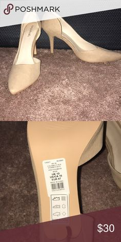 Nude Suede Heels size 15 New with Tags! Super cute! Padding at heel Long Tall Sally Shoes Heels