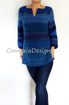 This warm and cozy sweater, for everyday wear, is perfect paired with jeans. Summer Sweaters, Cozy Sweaters, Ombre Yarn, Sweater Knitting Patterns, Work Tops, Double Knitting, Crochet Designs, Pink Sweater, Beautiful Patterns