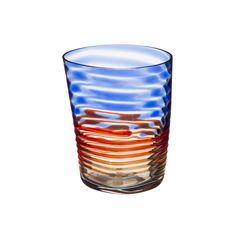 Carlo Moretti 997.43 Wasserglas mit orange-blauem Spiralen-Dekor | Serie Bora | Mundgeblasen und mit der Hand weiterverarbeitet | Handgefertigt in Italien: Amazon.de: Küche & Haushalt