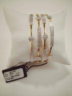 Saved by radhareddy garisa Plain Gold Bangles, Gold Bangles Design, Gold Jewellery Design, Gold Bangle Bracelet, Diamond Bangle, Diamond Jewelry, Gold Jewelry, Crystal Jewelry, Ladies Bangles