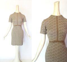Vintage 1950s Dress / FLEUR GRIS Dress / 50s Dress / Knit Dress / xxs xs on Etsy, $42.00