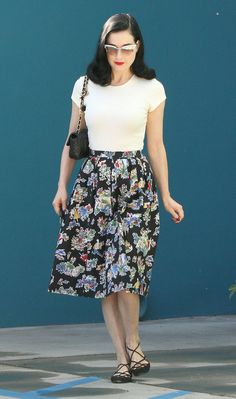 OMG That SKIRT! Dita Von Teese Photos - Dita Von Teese Goes To Pilates - Zimbio
