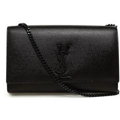 Saint Laurent 'Monogram' shoulder bag (593.620 HUF) ❤ liked on Polyvore featuring bags, handbags, shoulder bags, black, leather shoulder bag, black evening shoulder bag, monogrammed purses, evening handbags and black handbags