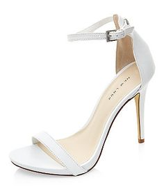 White Leather Ankle Strap Heels | New Look