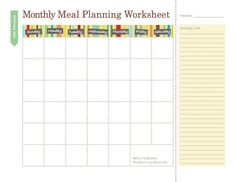 Free Household Notebook. Includes 36 Printables: Monthly Meal Plan Calendar