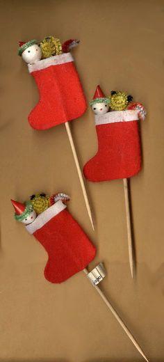 Vintage Christmas Santa party picks felt by beadtopiavintage