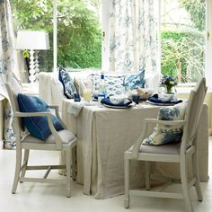 Tablecloth. Love the blue, tan, and white color scheme.