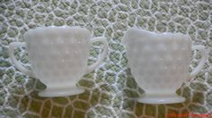 Milk Glass Creamer and Sugar Set by 17thandnewport on Etsy, $14.99