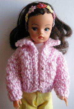 Short pink & crystals Sindy DOLL cardigan fit  Tammy Tressy Barbie Petra Tilda