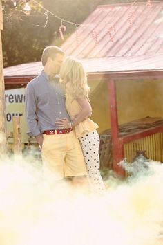 Fireworks Stand Engagement Session by Kristin Vining Photography this couple is too cute! love the polka dots and their outfits together! Cute Wedding Dress, Fall Wedding Dresses, Colored Wedding Dresses, Wedding Events, Our Wedding, Dream Wedding, Engagement Outfits, Engagement Session, Engagement Pictures