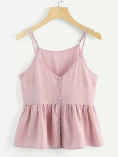 To find out about the Single Breasted Solid Cami Top at SHEIN, part of our latest Tank Tops & Camis ready to shop online today! Cami Tops, Cute Tank Tops, Fashion News, Fashion Outfits, Womens Fashion, Shein Dress, Summer Outfits, Cute Outfits, Stylish Outfits