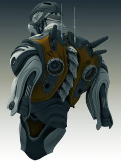 The torso of the robot gray-yellow in color. Robot Concept Art, Armor Concept, Suit Of Armor, Body Armor, Helmet Armor, Character Concept, Character Art, Character Design, Tattoos Bras