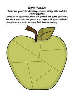 K-1 fine motor skills apple station activities!  LOVE!!!!