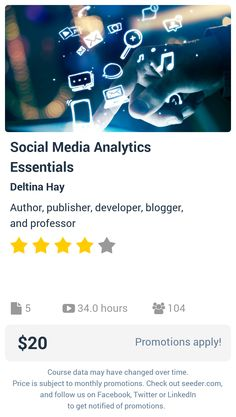 Social Media Analytics Essentials | Seeder offers perhaps the most dense collection of high quality online courses on the Internet. Over 13,800 courses, monthly discounts up to 92% off, and every course comes with a 30-day money back guarantee.