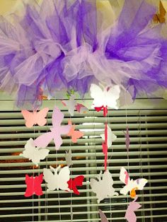 Craft Geek: DIY Baby Mobile- maybe not butterflies but the tulle is cute