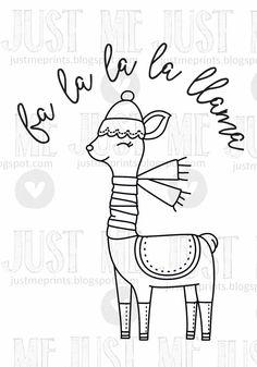 Fa la la la llama by JustMEdigitalstamps on Etsy - Computer Tutorial and Ideas Alpacas, Llama Christmas, Christmas Doodles, Hand Embroidery Patterns, Embroidery Designs, Coloring Books, Coloring Pages, Illustration Noel, Llama Alpaca