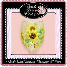 #HandPaintedGlass #PiantedGlassware #WineGlass #Ornament #PaintedOrnament #Christmas Hand Painted Wine Glass  Sunflowers  by BrushStrokeBoutique, $14.95