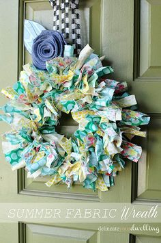 Create an adorable Summer Fabric Wreath with these step by step instructions. You choose the colors, patterns and designs. What a great way to brighten a door! #fabric #wreath