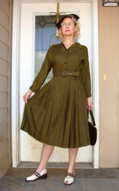 WWII era 40's Dark Olive Green Pleated Skirt Dress Metal