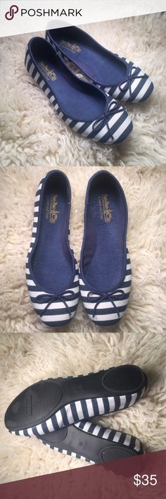 Coach and Four striped canvas flats brand new navy blue and white striped flats with bow! very cute! Coach and Four  Shoes Flats & Loafers
