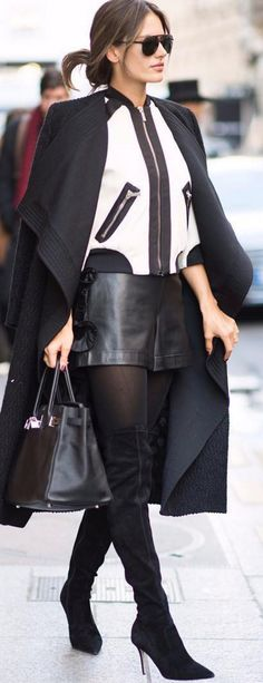 Who made Alessandra Ambrosio's white jacket, black aviator sunglasses, tote handbag, tights, and suede thigh high boots?