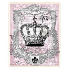 CROWN Vintage Style Art Print. Pink and Gray . 8 x 10 inch Handmade Art by The Decorated House