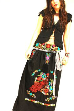 Mexican embroidered dress slim fit Obsidian Moon by AidaCoronado