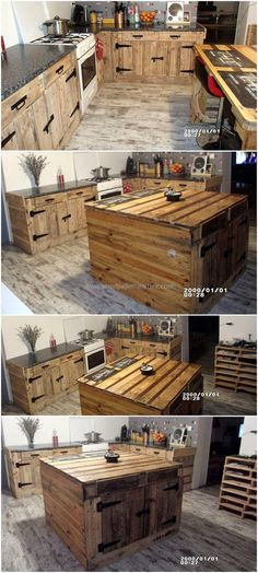 Here is a beautifully crafted wood pallets kitchen plan that is giving such a wonderful look to this kitchen. This pallet creation all-around the kitchen looks so stunning that completely changes the atmosphere of this kitchen. This kitchen plan has many items like cabinets, kitchen island, drawers, and a kitchen shelve.