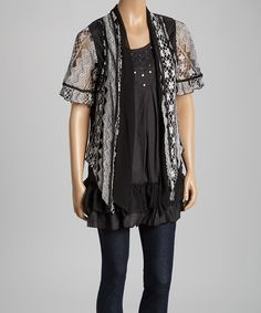 Look at this #zulilyfind! Pretty Angel Black & White Embellished Silk-Blend Layered Top by Pretty Angel #zulilyfinds