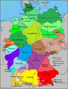 Map: German dialects (within Germany, France & Belgium) European History, World History, Family History, Geography Map, Empire Romain, Old Maps, Antique Maps, Vintage Maps, Alternate History