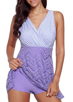 1964bb36c61 Patchwork Hollow Bathing Suit Beach Wear For Women V Neck Striped Laser Cut  Swimdress and Shorts