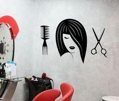 Vinyl Wall Decal Beauty Hair Salon Girl Scissors Hairdresser Stickers (1550ig)