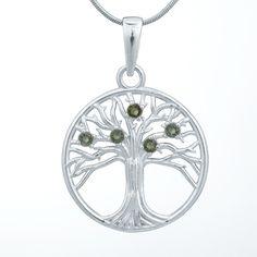 Stříbrný přívěsek Strom života s pěti vltavíny v briliantovém výbrusu.  Materiál: Stříbro 925/1000, rhodiovaný povrch zabraňující oxidaci a černání.  Ø 26 mm, hmotnost šperku: 4,40 g Belly Button Rings, Jewelry, Jewlery, Jewerly, Schmuck, Jewels, Belly Rings, Jewelery, Fine Jewelry