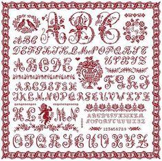 grille de marquoir rouge en broderie point de croix avec alphabet antique sajou. Patroon te koop