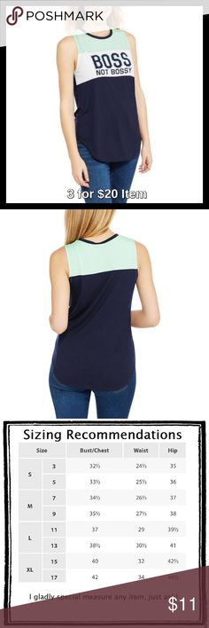 """""""Boss, Not Bossy"""" Color Block Tank Price is firm unless bundled. This tank has a relaxed fit and a colorblock mint, white and navy design with contrast crew neckline. Features a snappy and hilarious """"Boss not bossy"""" front graphic. The shirttail hem adds to the sporty, tomboy look of this sleeveless top. 64% polyester, 36% rayon. Tops"""