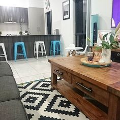 We're feeling nothing but positive vibes after seeing this snap from @positivehomeliving!   Featuring our Industrial coffee table & Rocket stools.  Don't forget to share your own Super Amart style with us - we can't get enough!