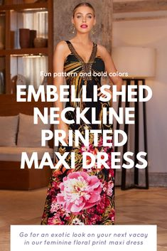 Go for an exotic look on your next vacay in our feminine floral print maxi dress. No accessories needed with a bronze bead embellished neckline and cinched bodice on this comfortable knit dress. Unlined. Stretch knit shoulder straps. Center back seam. Easy, pullover style. This is an affiliate link product, any purchase will result in a small compensation to me at no charge to you. Beautiful Party Dresses, Unique Formal Dresses, Gala Gowns, Bodice, Neckline, Floral Print Maxi Dress, Feminine Dress, Holiday Dresses, Shoulder Straps