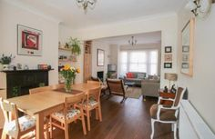 Thru lounge/diner Open Plan Living, House Front, House Ideas, New Homes, Dining Room, Lounge, Interiors, Table, Furniture
