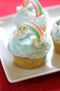 Rainbow bright, classic yellow butter cupcakes. Festive and a favorite! Classic yellow cake recipe, dinnervine.com.