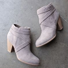a rare braid taupe suede booties - shophearts - 1