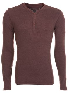 Burgundy Rib Y Neck Long Sleeve T-Shirt - Burton