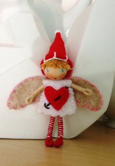 Valentines Day Cupid Waldorf Styled Bendy Doll Soon to be added to my A Curious Twirl Etsy site