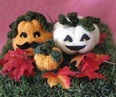 Crocheted Holiday Pumpkin Trio. Pumpkin measurements are: