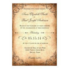 Rustic vintage wedding invitation These rustic vintage inspired wedding invitations feature elegant swirls and flourish over an aged paper. Perfect for any rustic and elegant wedding. Country Wedding Invitations, Vintage Wedding Invitations, Wedding Rsvp, Elegant Wedding Invitations, Rustic Wedding, Wedding Ideas, Budget Wedding, Chic Wedding, Wedding Decor