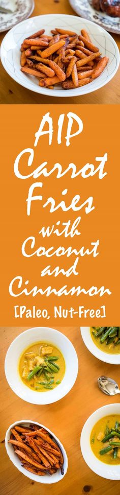 AIP Carrot Fries Recipe with Coconut and Cinnamon [Paleo, Nut-Free] Vegetarian Snacks, Healthy Eating Recipes, Paleo Recipes, Savory Snacks, Healthy Salads, Side Dishes Easy, Side Dish Recipes, Nightshade Free Recipes, Carrot Fries