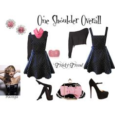 """""""One Shoulder Overall Outfit"""" by thedyb on Polyvore  #trickytrends #contest #outfits #fashion #Howtostyle #WhatToWear #xfactor #heels #fashionista #pink #fuchsiapink #overalls #black #polkadot #dress #handbag #purse #clutch #datenight #jewelry #girly #classy #stilettos #hairstyles #party #personalstyle #pretty #hot #haute"""