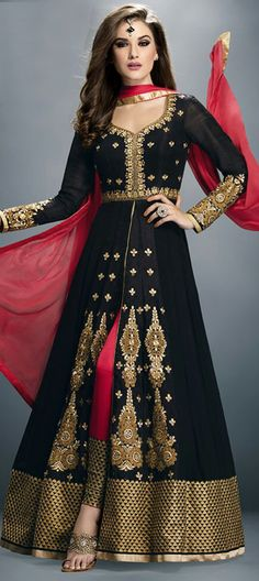 450716 Black and Grey color family Anarkali Suits in Faux Georgette fabric with Lace,Machine Embroidery,Thread work .