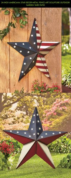 24 Inch Americana Star Decor Metal Fence Art Sculpture Outdoor Garden Yard Patio #kit #parts #products #americana #racing #gadgets #technology #tech #shopping #fpv #decor #camera #plans #outdoor #drone