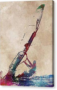 Windsurfing Sport Art Canvas Print by Justyna Jaszke JBJart Boat Names, Seascape Paintings, Sports Art, Surfing Tips, Canvas Art Prints, Diy Art, Graphic Art, Art Drawings, Sailing