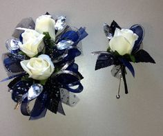 Navy Blue & Black Corsage Boutonniere Set - white silk roses, organza and metallic ribbons, rhinestone sprays, black leaves and matching boutonniere.